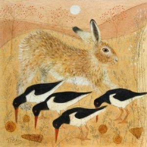 Hare and Four Oyster Catchers.